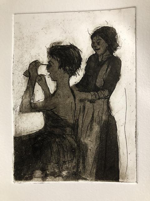 dames voor de spiegel